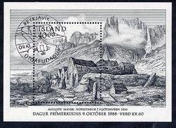 ICELAND 1988 Stamp Day Block  Cancelled.  Michel Block 9 - Blocks & Sheetlets