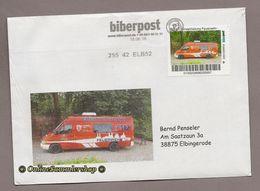 BRD - Privatpost - Biberpost - Feuerwehr - Eisatzfahrzeug FFW Blankenburg / LK Harz Auf Brief - Feuerwehr