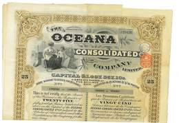 ACTION THE OCEANA CONSOLIDATED COMPANY LIMITED LONDRES 1929 ROYAUME-UNI - Afrique