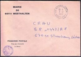 France Westhalten 1986 / Mairie De Westhalten - Postmark Collection (Covers)