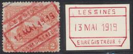 """Chemin De Fer - N°TR74 Cachet Chemin De Fer Rouge """"Lessines Enregistreur 4"""" 13/5/1919. TB - 1915-1921"""