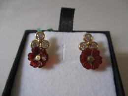 Orecchini In Oro Zirconi E Corniola 1,5cm - Earrings