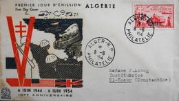 Enveloppe 1er Jour ALGERIE 1954 - 10e Anniv. Du 6 Juin 1944  Affr. N° 312 Y & T -  Daté Alger - RP Le 8.6.1954 - TBE - Algeria (1924-1962)
