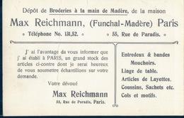 POSTAL PUBLICITARIA DE TEJIDOS HECHOS A MANO EN MADEIRA - EMPRESA FRANCESA - MAX REICHMANN - Werbepostkarten