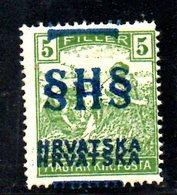 849 490 - YUGOSLAVIA 1918 , Emissione Per La Croazia Il 5 F. Con Doppia Soprastampa  *  Linguella - Nuovi