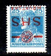 852 490 - YUGOSLAVIA 1918 , Emissione Per La Croazia Il 25 F. Con Doppia Soprastampa  *  Linguella - 1919-1929 Regno Dei Serbi, Croati E Sloveni