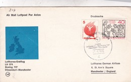 FIRST FLIGHT. LH 074 BOEING 737 DUSSEIDORF-MANCHESTER 1974. GERMANY- BLEUP - Covers & Documents