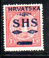 860 490 - YUGOSLAVIA 1918 , Emissione Per La Croazia Il 15 F. N. 61   *  Linguella - 1919-1929 Regno Dei Serbi, Croati E Sloveni