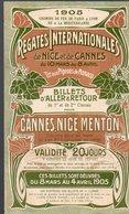 Cannes Nice Et Menton (06 Alpes Maritimes)  Horaire 1905 Régates Internationales  (PPP8879) - Europa