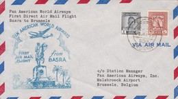 PAN AMERICAN WORLD AIRWAYS. FIRST DIRECT AIRMAIL FLIGHT. BASRA TO BRUSSELS 1979. IRAQ- BLEUP - Irak
