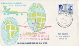 FIRST FLIGHT. AIR FRANCE. BUENOS AIRES PARIS BOEING JET INTERCONTINENTAL 1960. FRANCE- BLEUP - First Flight Covers
