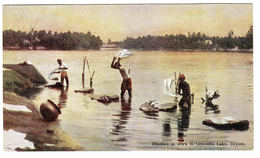 CEYLON - SRI LANKA -  Dhobies At Work In Colombo Lake, Ceylon - Sri Lanka (Ceylon)
