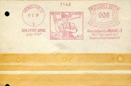 35054  Germany Reich, Red Meter/freistempel/ema/ 1931 Remscheid Joh Peter Arns, Dauerhefte Vulkan - Machine Stamps (ATM)