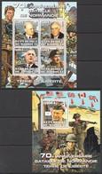 F382 2014 DJIBOUTI WAR WWII 70TH ANNIVERSARY NORMANDY PRIVATE ISSUE 1KB+1BL MNH - 2. Weltkrieg