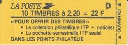 """2376 C 7 LIBERTE Carnet De 10 - """"Pour Offrir""""...pochette Semestrielle - Lettre D -Conf. 8 - Definitives"""