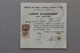Carte D'adhérent Ass.des Abonnés Au Service Téléphonique De Nuit De Neufchâteau (Vosges), 1933 - Collezioni