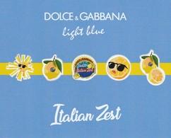 Dolce & Gabbana  * Petite Planche De 5 Stickers *  Light Blue * Italian Zest* - Cartes Parfumées