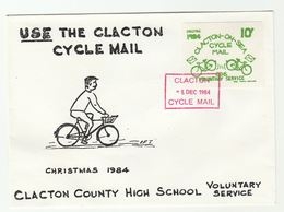 1984 CLACTON HIGH SCHOOL CYCLE Mail LOCAL  POST COVER  Illus BICYCLE Bike  Label Cycling Gb - Cinderellas