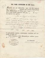 Urbino. 1863. Estratto Nascita Dell'Archivio Parrocchiale Della Metropolitana Di Urbino. - Religione & Esoterismo