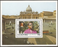 Lesotho,  Scott 2017 # 654,  Issued 1988,  S/S Of 1,  MNH,  Cat $ 8.00, Pope Paul II - Lesotho (1966-...)