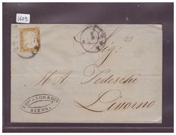 """ITALIE - LETTRE AVEC No YVERT 2  DE SIENA POUR LIVORNO EN 1862 """" WARNING: NO PAYPAL !! """" - 1861-78 Victor Emmanuel II."""