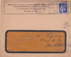 Perforé Perfin  A.G Département Etranger Hachette Sur Lettre Affranchie Avec Type Paix 65c Bleu - Storia Postale