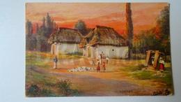 D159084 Hungarian Villages II.  - Alkonyat - Tuck  - Oilette  -1908 Hungary  Orosháza - Toorop, Jan