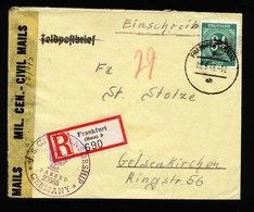 A5543) Bizone R-Brief Frankfurt / M. 10.5.46 US-Zensur Zensorstempel Rücks. - Gemeinschaftsausgaben