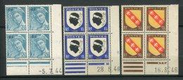 7519  FRANCE  N°  660, 755, 756**  Mercure, Armoiries De La Corse Et De La Lorraine  (détails Ci-dessous)   TB/TTB - Coins Datés