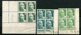 7521  FRANCE  N°  713, 719  Et 728**  Marianne De  Gandon  Du  28.2.46, 5.11.45 Et 15.3.46      TB/TTB - Coins Datés