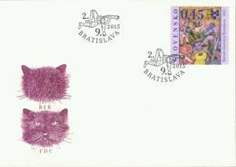 Slowakei 'Biennale Bratislava, Katzen' / Slovakia 'Bratislava Biennale, Cats' FDC 2015 - Hauskatzen