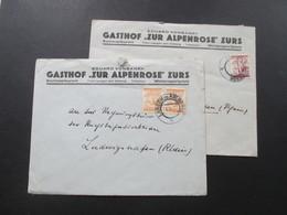 Österreich 1927 Eduard Vonbank Gasthof Zur Alpenrose Zürs. Hotelpost. 2 Belege Nach Ludwigshafen Rhein - 1918-1945 1. Republik