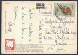 QS117  Kenya Airmail Postcard To Italy 1977, Stamps Sea Shell - Kenia (1963-...)