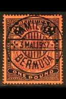 """1918-22 £1 Purple & Black On Red, SG 55, Used With Horizontal Pen Line And Faked Superb Upright 'socked On The Nose' """"Ha - Bermuda"""