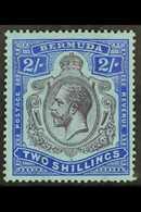 1924-32 2s Purple And Bright Blue On Pale Blue, With Break In Lines Below Left Scroll SG 88e, Fresh Mint, Couple Slightl - Bermuda