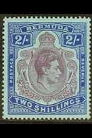 1943 2s Purple And Blue On Pale Blue, GASH IN CHIN, SG 116df, Very Fine Mint. For More Images, Please Visit Http://www.s - Bermuda