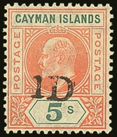 """1907 """"1D"""" On 5s Salmon And Green, SG 19, Never Hinged Mint. For More Images, Please Visit Http://www.sandafayre.com/item - Cayman Islands"""