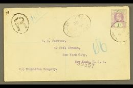 """1908 (6 June) Registered Cover To USA, Bearing 1907 1s Stamp (SG 15) Tied By """"George Town"""" Cds, With Registration """"R"""" Ca - Cayman Islands"""