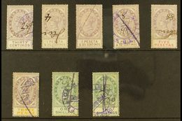 REVENUE STAMPS STAMP DUTY 1894 30c, 1p25, 1p85, 2p50 And 5p (Barefoot 1/2 & 4/6); Plus 1898 3d, 1s And 2s (Barefoot 10/1 - Gibraltar
