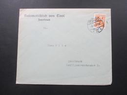Österreich 1933 Brief Des Automobilklub Von Tirol Innsbruck. Thematik: Automobile / Autos - 1918-1945 1. Republik