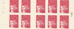 """3085 C 6 CARNET MARIANNE LUQUET  TYPE I - """"Le Siècle..."""" Papier Couv. Neutre Aux UV - Date Haute 27.11.00 - N° 100 - Carnets"""