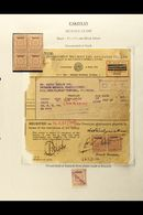 """1947 """"PAKISTAN"""" ON GOVERNMENT STAMPS. 1947-49 1r Reddish Violet """"Save For Defense"""" Stamp Mint, 1a Brown Revenue Stamp Wi - Pakistan"""