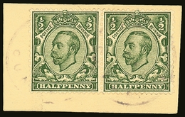 1908 GB USED ON TRISTAN ½d Pair, Tied To Good Sized Piece By The 1908 Type I Cachet,  SG C1, Rather Faint But Still Very - Tristan Da Cunha