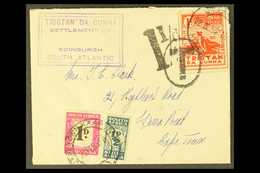 """1950 Cover From Tristan Franked Violet Boxed Edinburgh Settlement Cachet, SG Type C11, With Additional 1d """"Potato Stamp"""" - Tristan Da Cunha"""