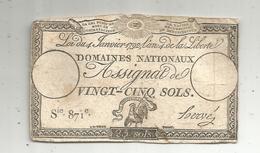 Assignat 1792 , VINGT CINQ SOLS ,25 , L'an 4 De La Liberté, Signé Hervé , Serie 871 E - Assignats