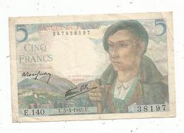 Billet , 5 , Cinq Francs , BERGER , 5-4-1945 , 2 Scans - 1871-1952 Circulated During XXth