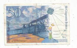 Billet , 50 , Cinquante Francs , SAINT EXUPERY , 1996 , 2 Scans - 1992-2000 Dernière Gamme