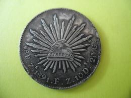 MEXIQUE ECU 8 REALES SILVER LIBERTAD 1891 Z (atelier De Frappe De Zacatecas) @ Argent 27,07 Gr. à 90,3 % - 2 Photos - Mexico