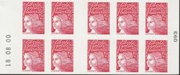 """3085 C 6b CARNET MARIANNE LUQUET  TYPE I - """"Le Siècle..."""" Papier Couv. AZURANT - DATE BASSE 18.08.00 - Definitives"""