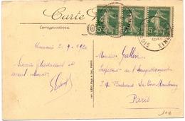 Type Semeuse Bande De 3 Avec Léger Piquage A Cheval Sur Carte - Curiosities: 1900-20 Mint/hinged